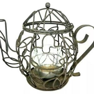 """Vintage Teapot Shaped Candle Holder Metal Wired 5"""""""